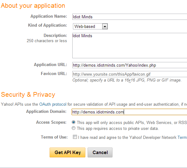 Yahoo Application Form