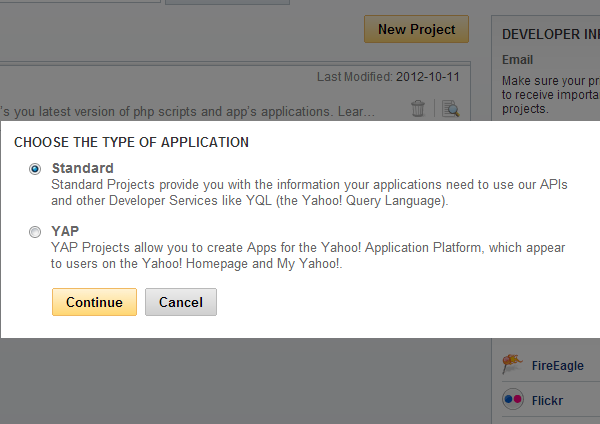 Yahoo Application Type