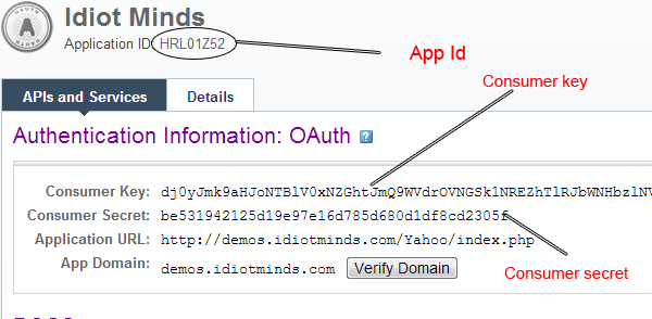 Yahoo Authentication Information