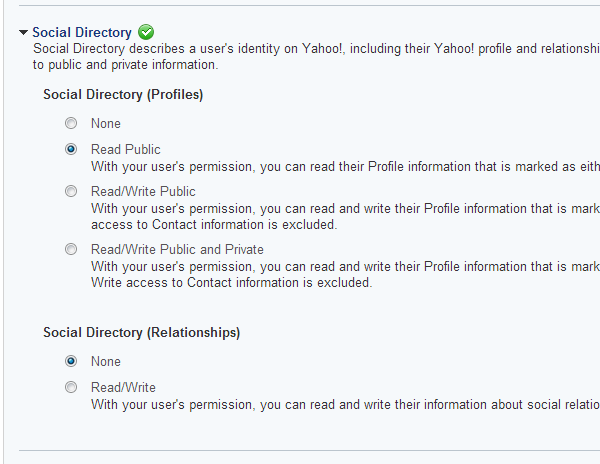 Yahoo Application Permissions